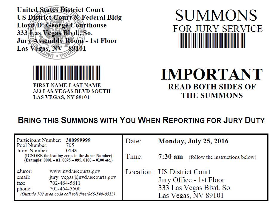 Las Vegas Summons